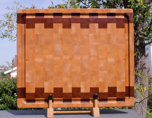 "Cutting Board 18 - 703. Hard Maple & Jatoba. End Grain, Juice Groove. 16"" x 18"" x 1-1/2""."