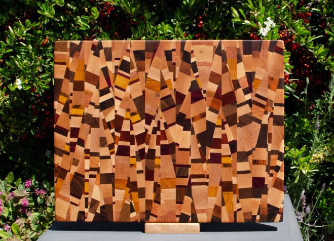 "Cutting Board 18 - 707. Chaos board, 13 species identified. End grain. 13"" x 17"" x 1-1/4""."