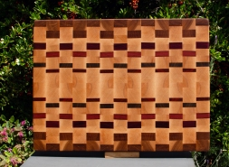 "Cutting Board 18 - 708. Hard Maple, Mesquite, Bubinga, Purpleheart, Bloodwood & Padauk. 15"" x 20"" x 1-1/2""."