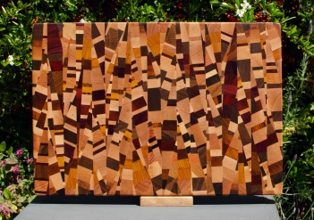 "Cutting Board 18 - 709. Chaos board, 13 species identified. End grain. 13"" x 19"" x 1-1/4""."