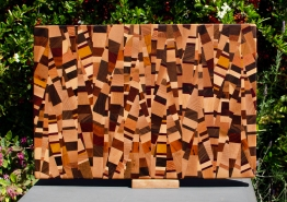 "Cutting Board 18 - 712. Chaos board, 13 species identified. End grain. 13"" x 19"" x 1-1/4""."
