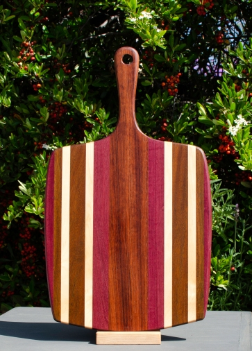"Sous Chef 18 - 703. Purpleheart, Jatoba & Hard Maple. 11"" x 20"" x 3/4""."
