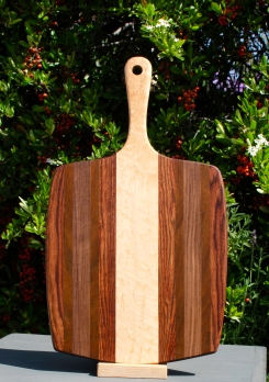 "Sous Chef 18 - 704. Caribbean Rosewood, Jatoba, Black Walnut & Birds Eye Maple. 11"" x 20"" x 3/4""."