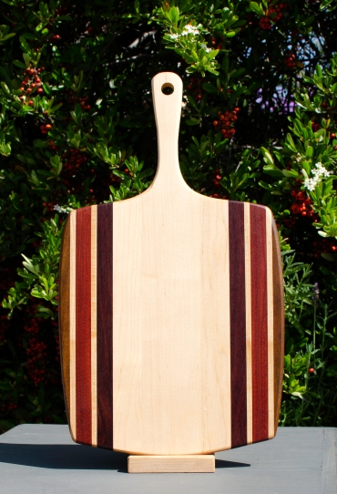 "Sous Chef 18 - 705. Jatoba, Bloodwood, Jarrah & Hard Maple. 11"" x 20"" x 3/4"". Commissioned Piece."