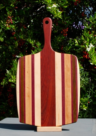 "Sous Chef 18 - 706. Hard Maple, Purpleheart, Jatoba, Cherry & Bloodwood. 11"" x 20"" x 3/4""."