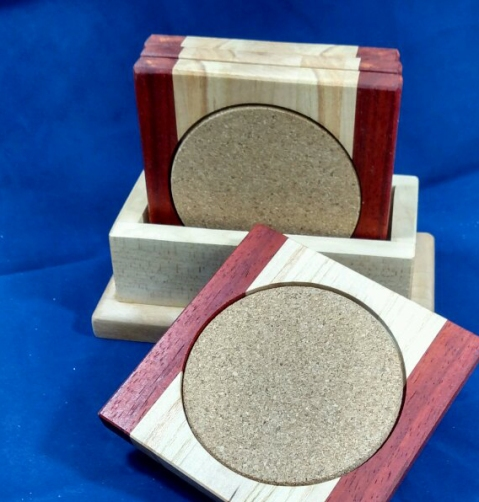 Coasters 18 -15. Padauk, Honey Locust & Hard Maple.
