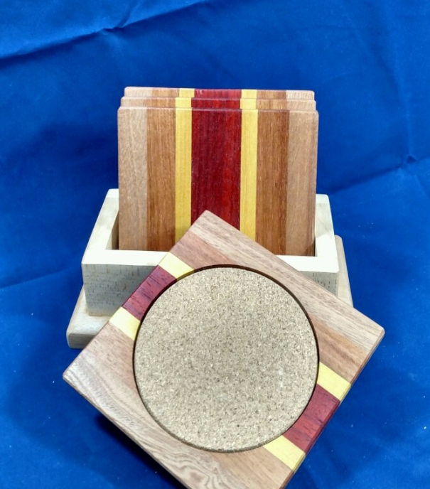 Coasters 18 - 22. Sapele, Jatoba, Yellowheart & Bloodwood.