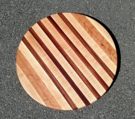 "Lazy Susan 18 - 12. Hard Maple, Cherry & Sapele. 18"" diameter."