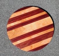 "Lazy Susan 18 - 13. Padauk & Spalted Maple. 18"" diameter."