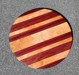 "Lazy Susan 18 - 13. Padauk & Spalted Maple. 18"" diameter."