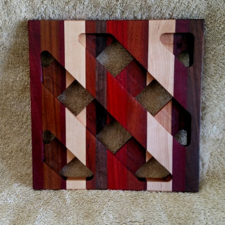 Trivet 18 - 722. Jarrah, Jatoba, Hard Maple & Black Walnut.