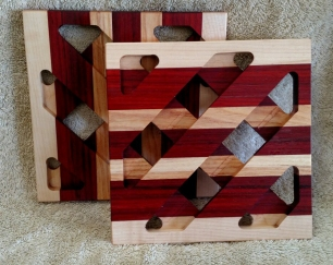 Trivet 18 -723. Hard Maple & Padauk.