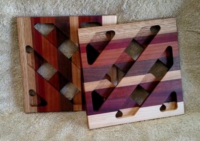 Trivet 18 - 725. White Oak, Purpleheart, Bubinga, Bloodwood, Hard Maple & Black Walnut.