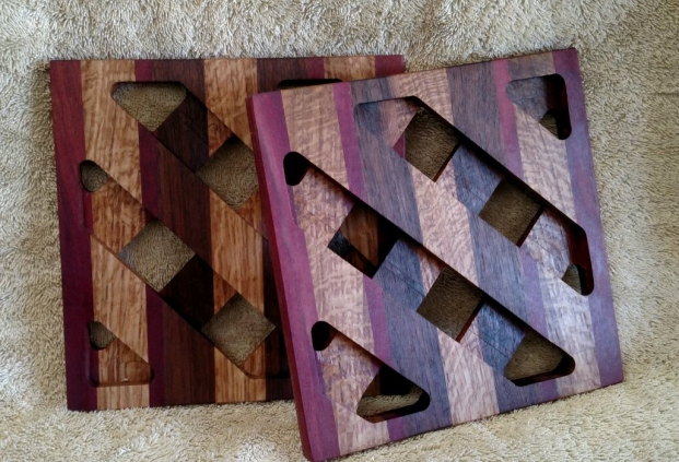Trivet 18 - 727. Purpleheart, Mesquite & Black Walnut.