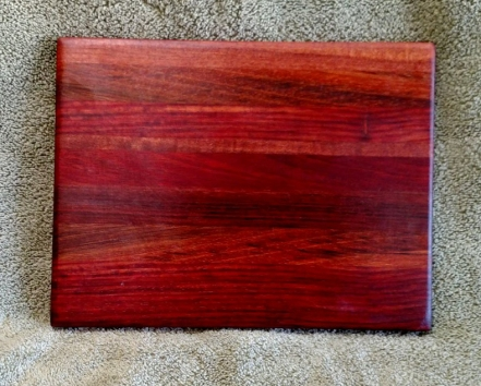 "Cheese Board 18 - 119. Bloodwood, Bubinga, Jatoba & Purpleheart. 8"" x 11"" x 5/8""."