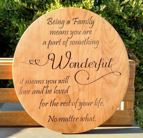 "CNC Sign 18 - 22 Wonderful. Hard Maple. 14"" x 12"""