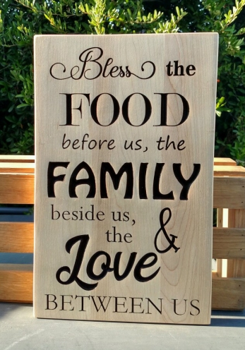 "CNC Sign 18 - 30 Bless The Food. Hard Maple. 10"" x 14""."