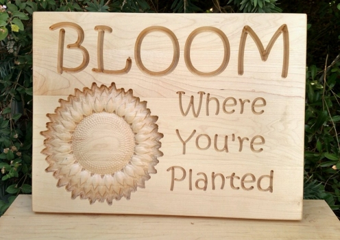 "CNC Sign 18 - 68 Bloom. Hard Maple. Carved lettering with 3D sunflower. 12"" x 16"". Commissioned piece."