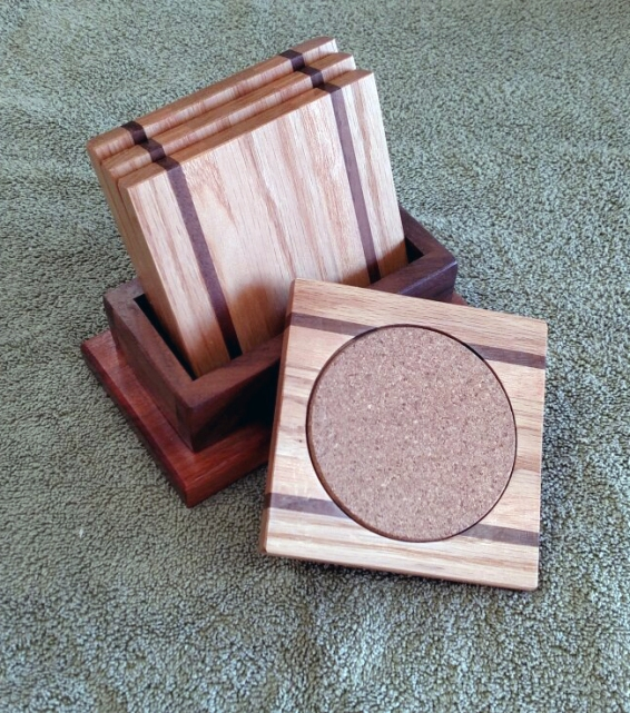 Coasters 18 - 30. Red Oak & Black Walnut coasters, shown with a Jatoba & Black Walnut holder.
