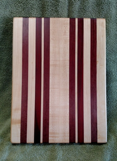 "Cutting Board 18 - 323. Hard Maple, Bloodwood & Purpleheart. 12"" x 16"" x 1-1/8""."