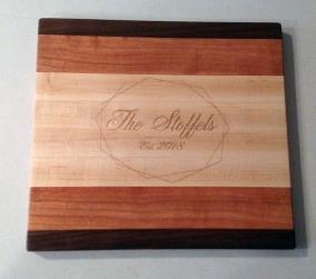 "Engraved 18 - 003. Maple, Walnut & Cherry. 9"" x 11"" x 3/4"". Custom order."