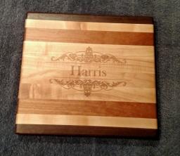"Engraved 18 - 0042. Hard Maple, Black Walnut & Cherry. 9"" x 11"" x 1-1/8"". Custom Order."