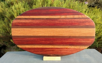 Large Serving Piece 18 - 10. Black Walnut, Padauk & Cherry.