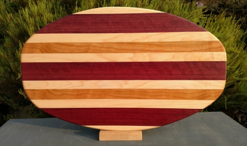 Large Serving Piece 18 - 11. Hard Maple, Purpleheart, & Cherry.