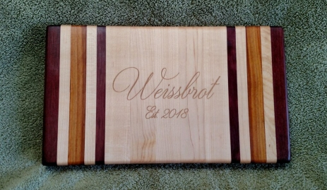 "Small Board 18 - 210. Purpleheart, Canarywood & Hard Maple. 8"" x 12"" x 1-1/8""."