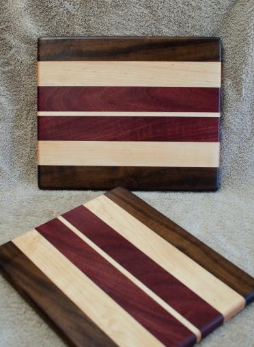 "Cheese Board 18 - 120. Black Walnut, Hard Maple & Purpleheart. 9"" x 11"" x 5/8""."