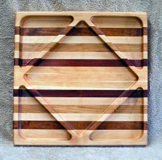 "Cheese & Cracker - Server 18 - 204. Hard Maple, Jatoba, Canarywood, Bloodwood & Honey Locust. 14"" square x 1-1/8"" thick. The front side."